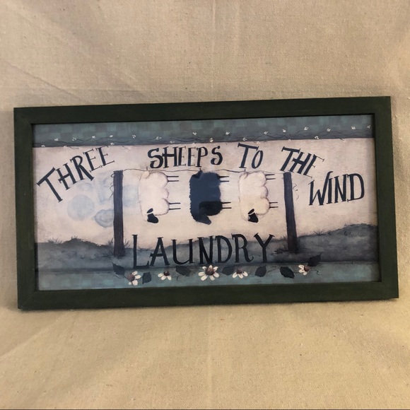 Three Sheep's To The Wind Laundry Frames Picture